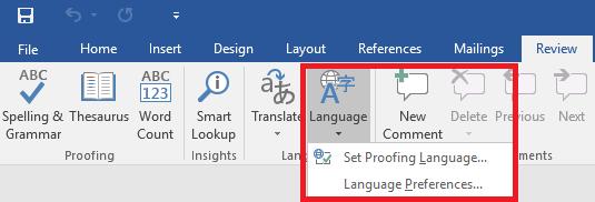 word language button