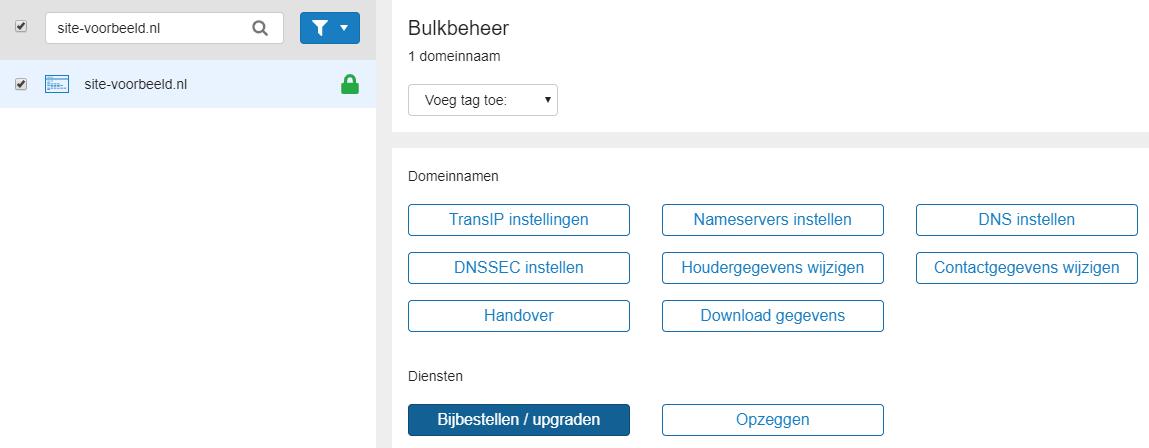 Vink je domeinnaam aan en klik op Bijbestellen upgraden