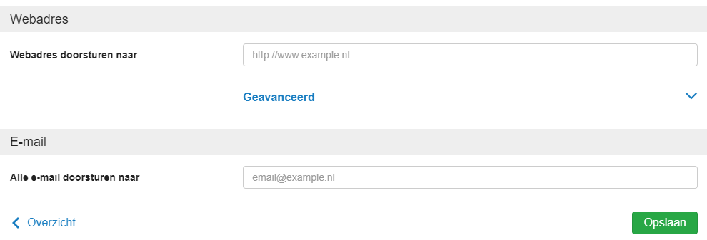 kies waar je je domein naartoe wil sturen