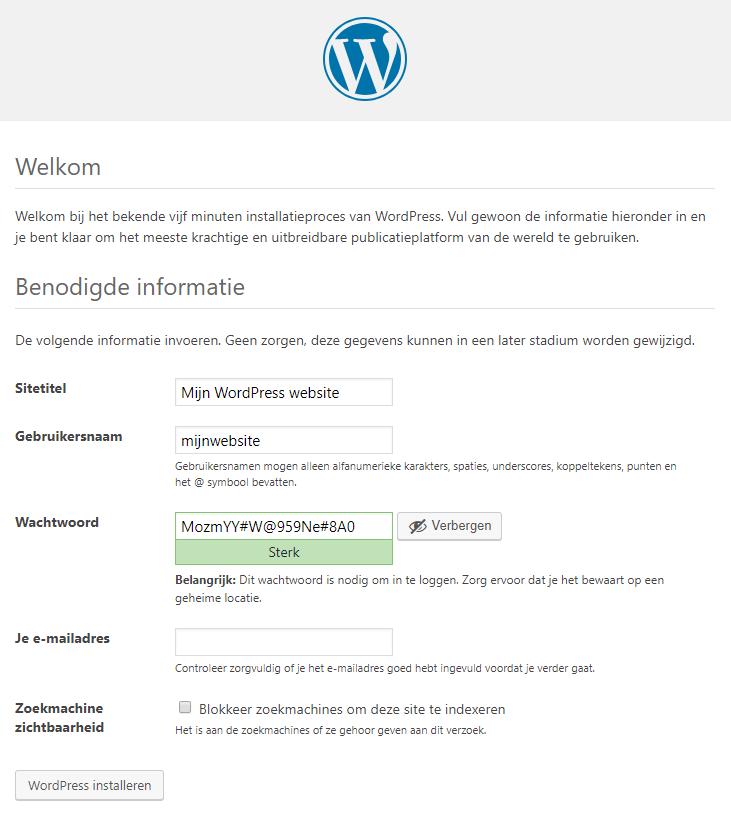 Configureer WordPress op je domein