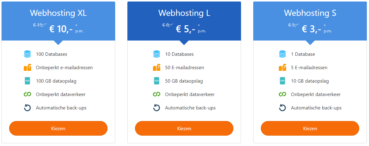 Overzicht webhostingpakketten