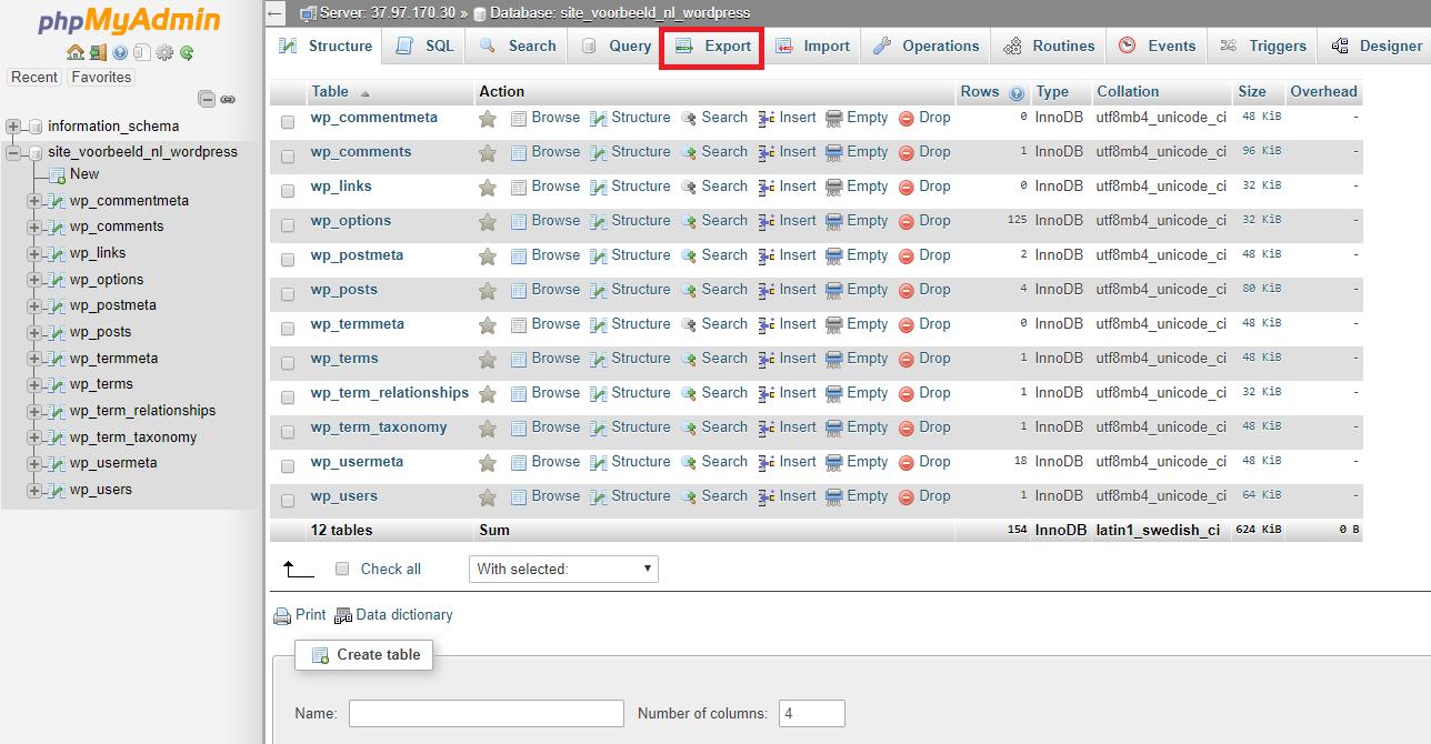exporteer je database