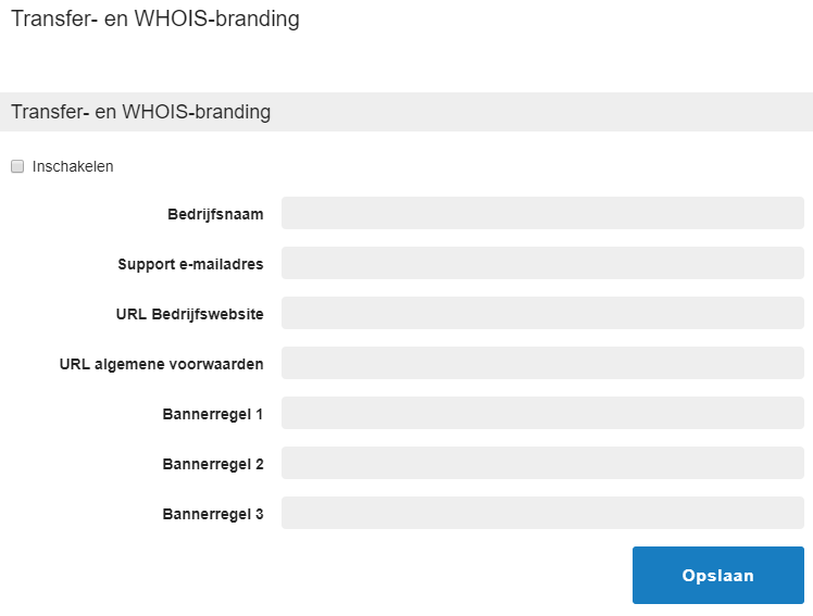 whois en transferbranding in controlepaneel