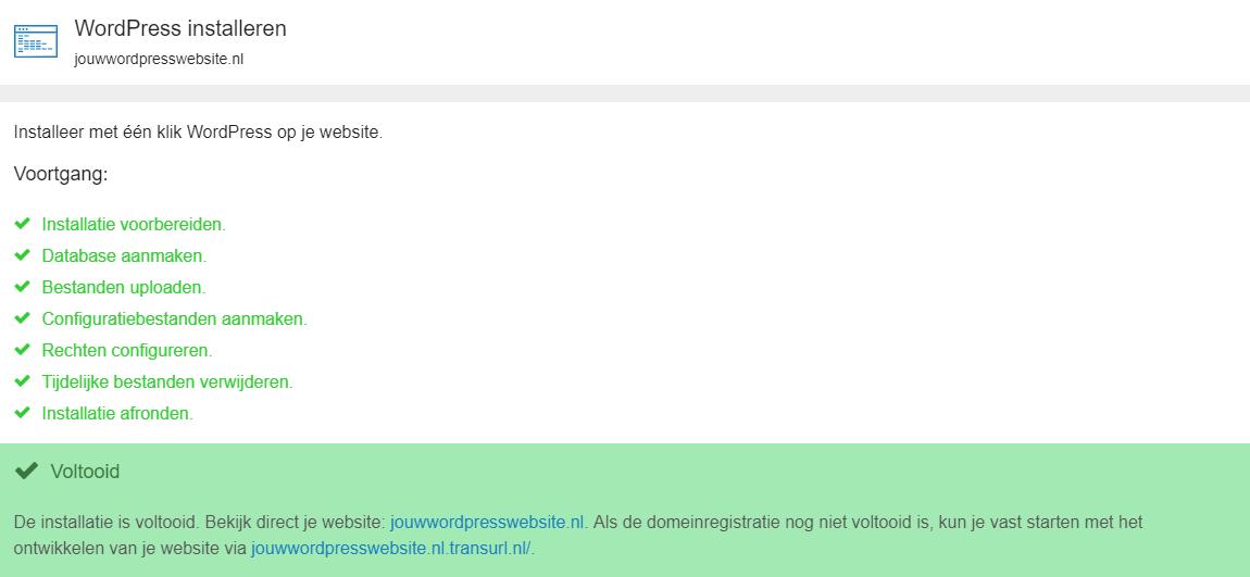 WordPress is geïnstalleerd