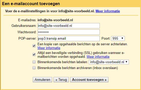 Vul de gegevens van jouw e-mailaccount in