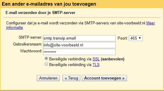 Vul hier de gegevens van de uitgaande mailserver in
