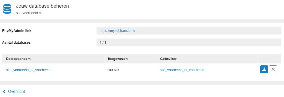 Database overzicht