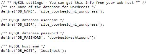 voorbeeld van wp-config.php
