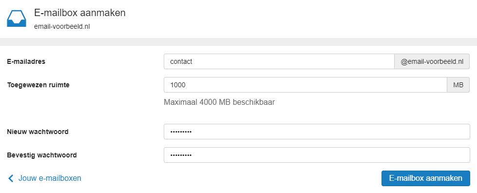 Vul je gegevens in en klik op 'E-mailbox aanmaken'
