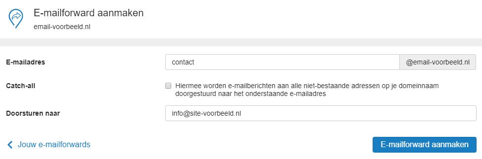 Vul hier het forwardadres in en het e-mailadres waar je naartoe wil laten sturen
