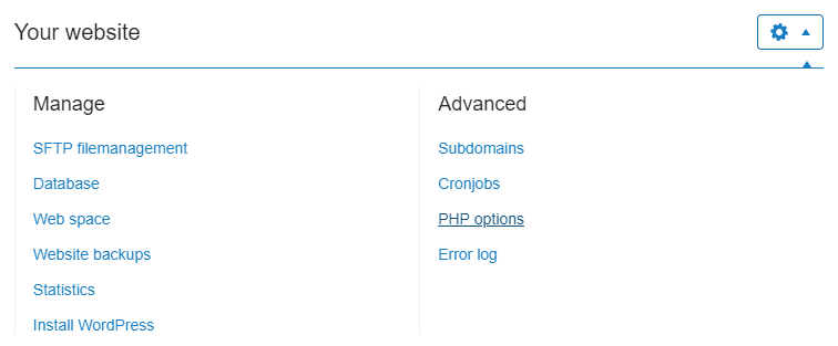 Click on php options