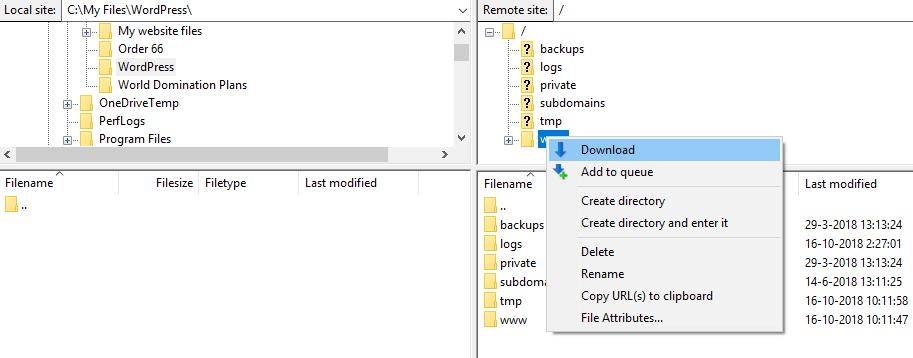 Selecteer de bronmap en klik op 'Download'