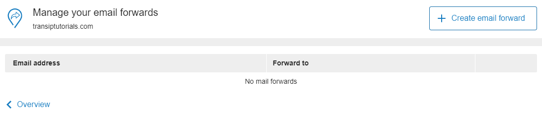 click on create email forward