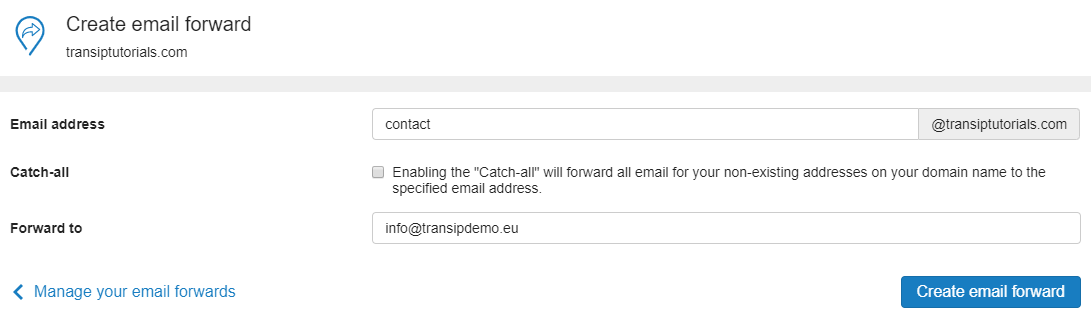 configure your email forward