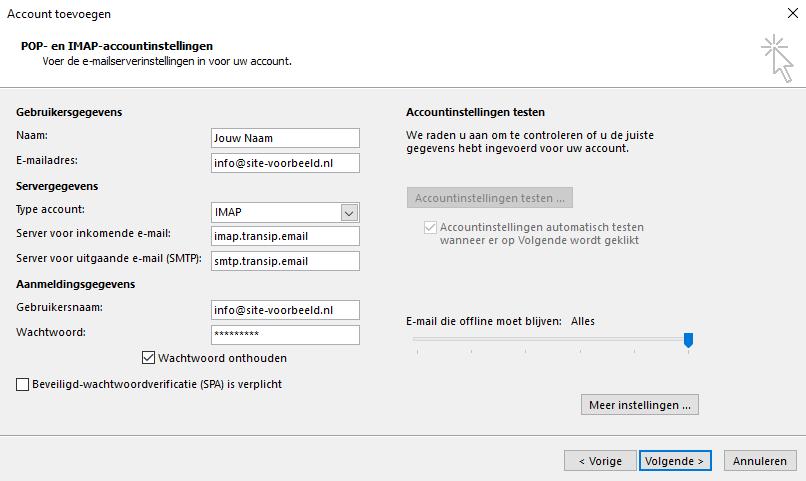 Instellingen voor internet-e-mail
