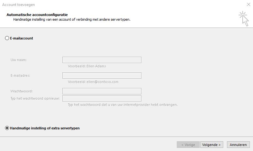 Handmatige accountconfiguratie