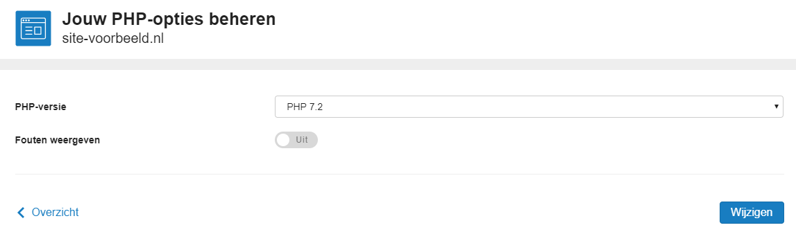Hier zie je de PHP opties van jouw webhostingpakket terug