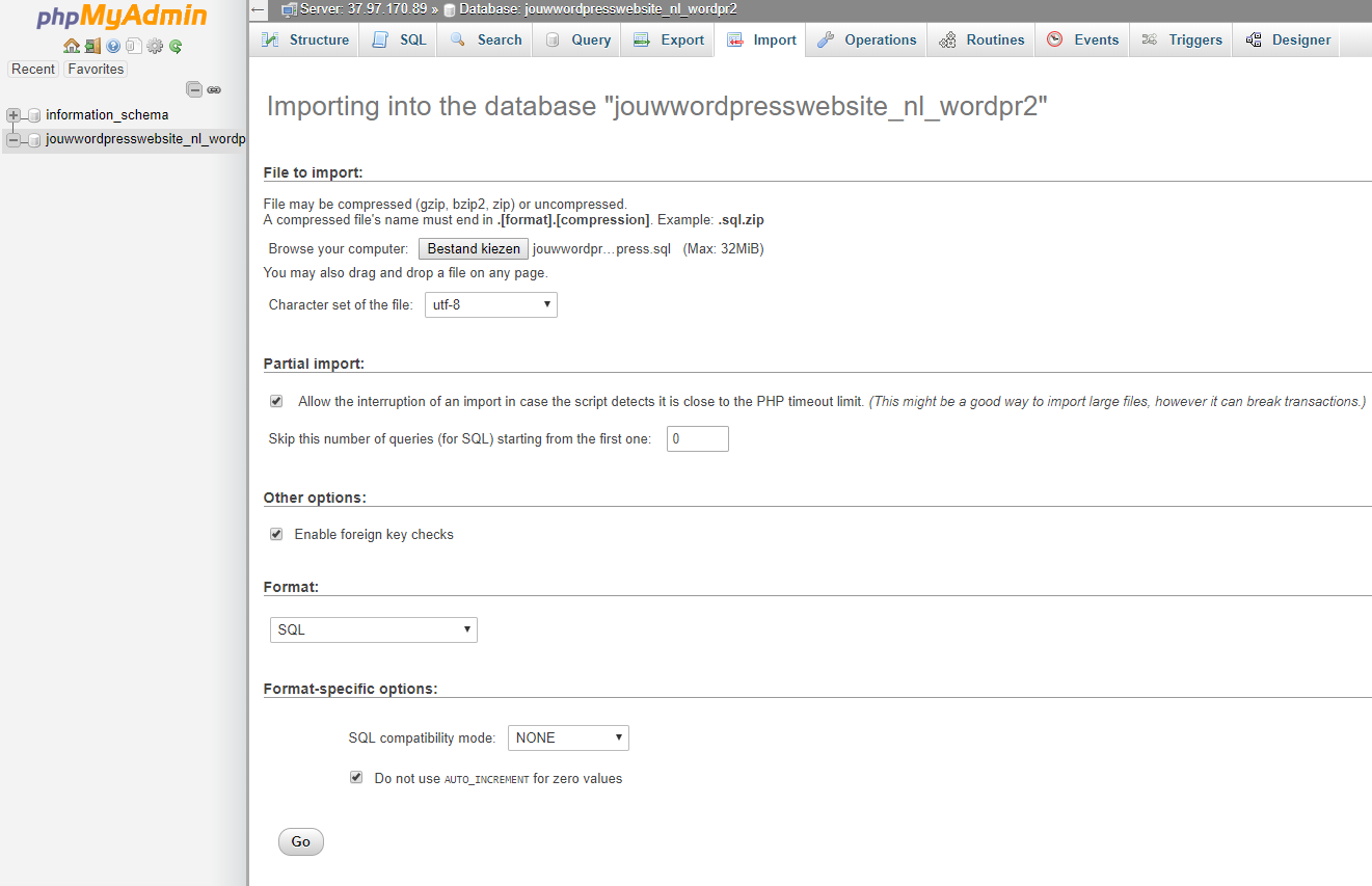 Kies het database-bestand van je website en klik op 'Go'
