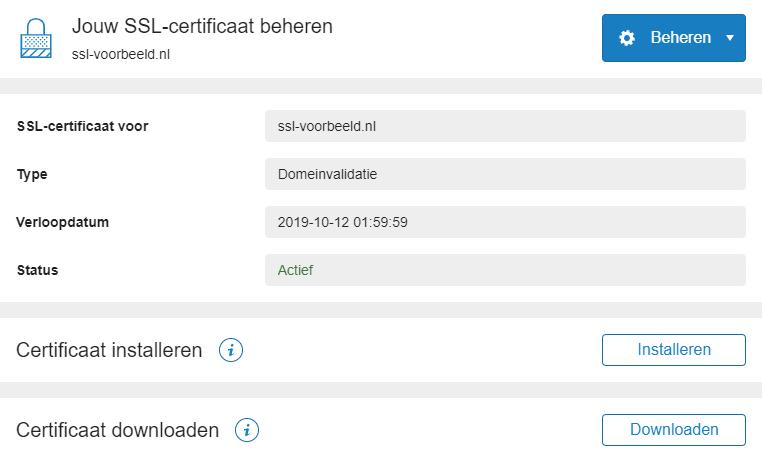 installeer het certificaat op je webhostingpakket