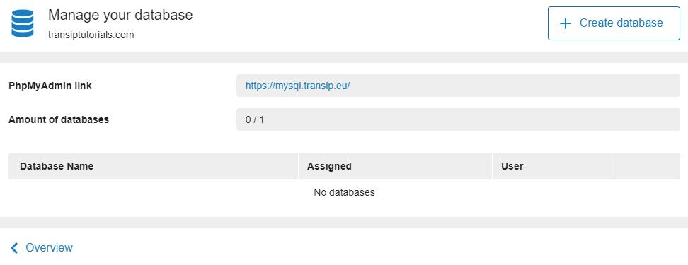 click create database