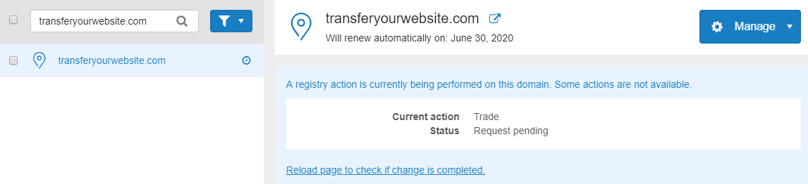 transfer is pending