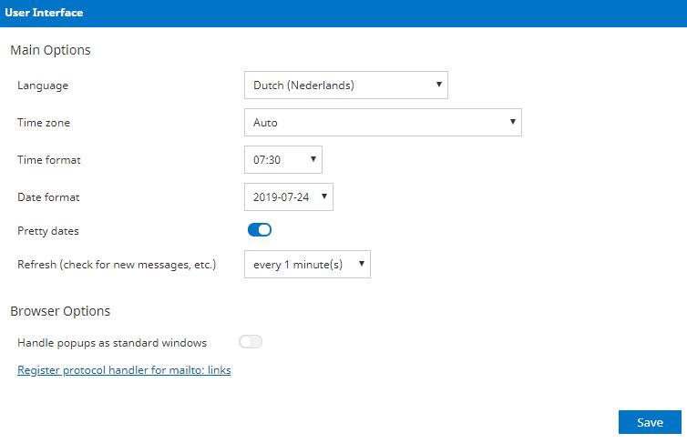 kies de gewenste taal en klik op Save