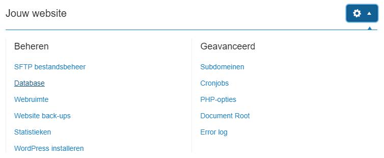 Klik naast jouw website op databases