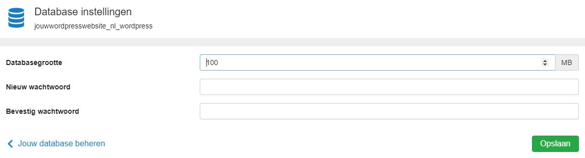 pas het wachtwoord database aan