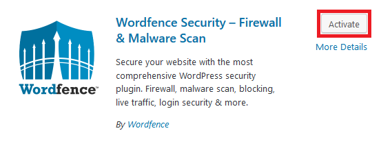 wordpress wordfence activate