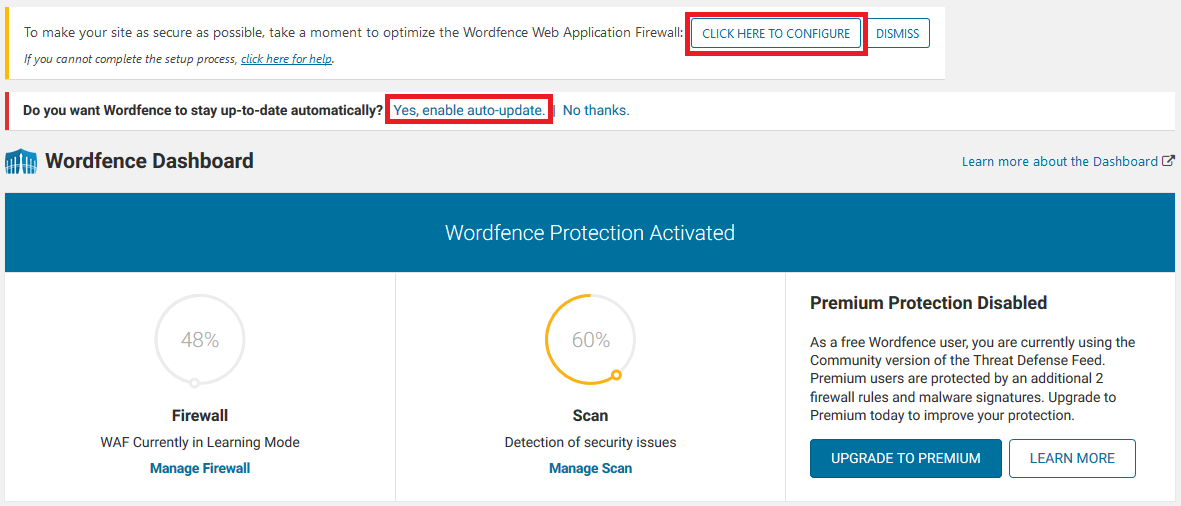wordpress wordfence click to configure